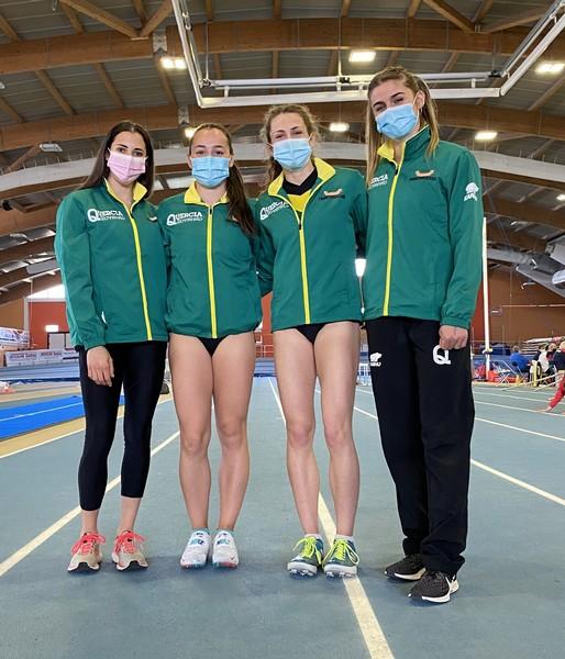 Le Astiste giallo-verdi in gara a Padova (da sx): Marta Ronconi, Arianna Peroni, Lara Dallaporta e Stella Tronchin