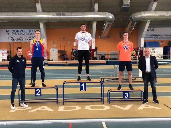 Lorenzo Naidon, sul gradino piu'alto del podio: Campione Italiano U23 di Eptathlon Indoor