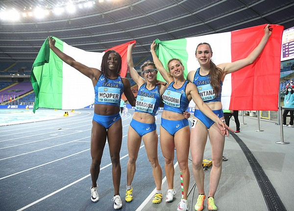 Le sprinter Hooper, Siragusa, Bongiorni e Fontana (foto Colombo/FIDAL)